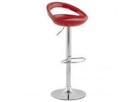 Tabouret de bar design 'COMET' rouge réglable avec dossier