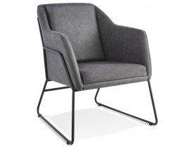 Fauteuil lounge design 'COMIK' en microfibre gris foncé