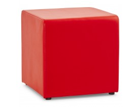 Pouf 'CUBE' de salon en matière synthétique rouge