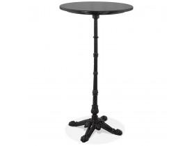 Table haute ronde 'DOMY ROUND' style rustique en marbre noir - 60x60 cm
