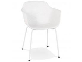 Chaise avec accoudoirs perforée 'DRAK' blanche intérieure / extérieure