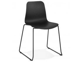 Chaise moderne 'EXPO' noire avec pieds en métal noir