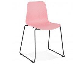 Chaise moderne 'EXPO' rose avec pieds en métal noir