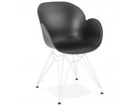 Chaise moderne 'FIDJI' noire avec pieds en métal blanc