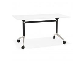 Bureau pliable 'FLEXO' blanc sur roulettes - 140x70 cm