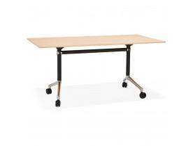 Grand bureau pliable 'FLEXO' sur roulettes en bois finition naturelle - 160x80 cm