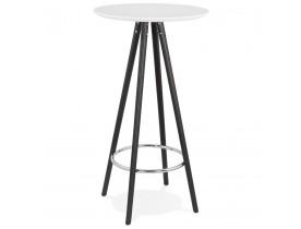Table haute / Mange-debout rond 'GALA' en bois blanc et pieds noirs