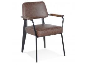 Chaise avec accoudoirs design 'GALLERIA' brune et métal noir