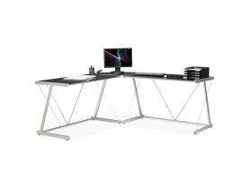 Grand bureau d'angle 'GEEK' design en verre noir