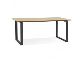 Grand bureau droit de direction 'GIMINI' en bois finition naturelle et métal noir - 180x90 cm