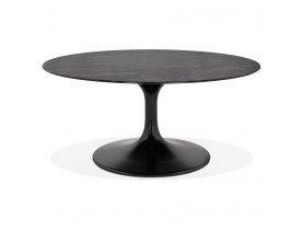 Table basse de salon 'GOST MINI' en verre effet marbre noire et ronde