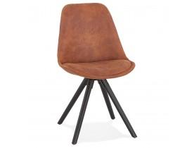 Chaise confortable 'HARRY' en microfibre brune et pieds en bois noir