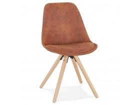 Chaise confortable 'HARRY' en microfibre brune et pieds en bois finition naturelle
