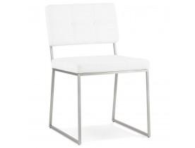 Chaise design capitonnée 'LEON' en matière synthétique blanche