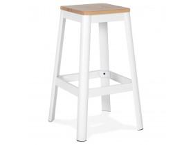 Tabouret haut style industriel 'LIDYA' avec structure en métal blanc et assise en bois