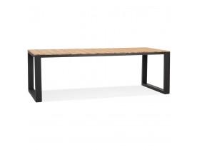 Table à dîner 'LOMOK' en bois massif et métal noir intérieur / extérieur - 240x100 cm