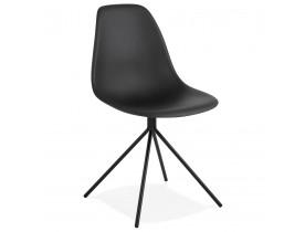 Chaise moderne 'LORY' noire avec pied en métal