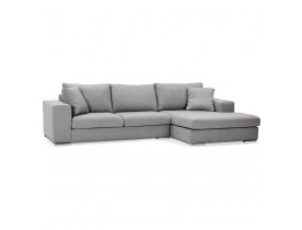 Canapé d'angle 'LUCA L SHAPE MEDIUM' en tissu gris clair (angle à droite)