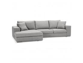 Canapé d'angle 'LUCA L SHAPE MEDIUM' en tissu gris clair (angle à gauche)