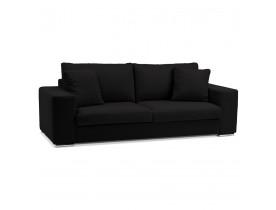 Canapé droit moderne 'LUCA' en tissu noir - Canapé 3 places