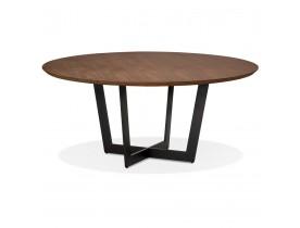 Table de salle à manger ronde 'LULU' en bois finition Noyer et métal noir - Ø120 cm