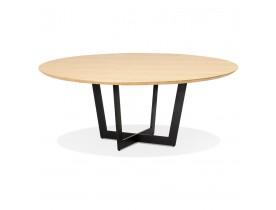 Table de salle à manger ronde 'LULU' en bois finition naturelle et métal noir - Ø140 cm