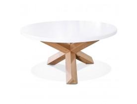 Table basse de salon ronde 'MARVEL' blanche et chêne massif - Ø 80 cm