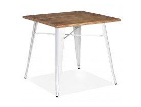 Table carrée style industriel 'MARCUS' en bois foncé et pieds en métal blanc - 76x76 cm