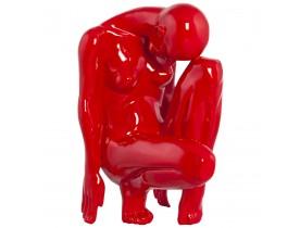 Statue déco 'MEHDI' femme pensante en polyrésine rouge
