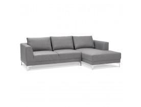 Canapé d'angle design 'MELTING' gris clair avec méridienne (angle à droite)