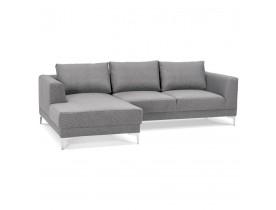 Canapé d'angle design 'MELTING' gris clair avec méridienne (angle à gauche)