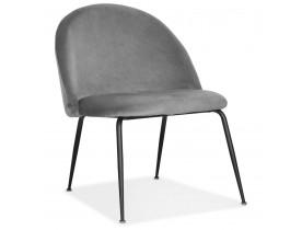 Fauteuil lounge 'MERMAID' en velours gris clair et pieds en métal noir