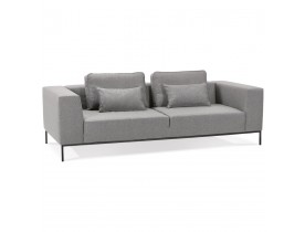 Canapé 3 places 'NANY' en tissu gris - canapé droit moderne