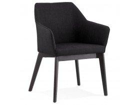 Chaise moderne 'NANO' en tissu noir avec accoudoirs