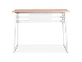 Table de bar haute 'NIKI' en bois finition naturelle et pied en métal blanc - 150x60 cm