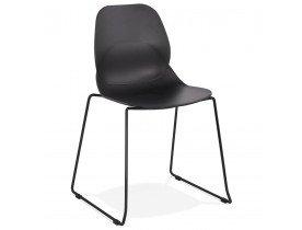 Chaise design 'NUMERIK' noire avec pieds en métal noir