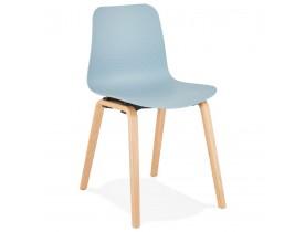 Chaise scandinave 'PACIFIK' bleue avec pieds en bois finition naturelle