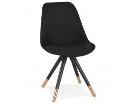 Chaise vintage 'POPI' en tissu et bois noir