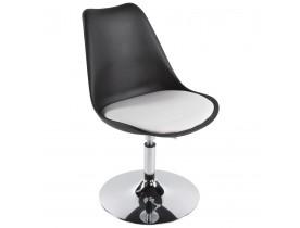 Chaise moderne pivotante 'QUEEN' réglable noire et blanche