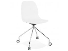 Chaise de bureau moderne 'RALLY' blanche sur roulettes