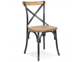 Chaise de cuisine 'RANCH' en bois finition Noyer effet vieilli noir