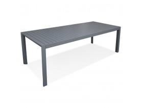 Table de jardin extensible 'SAMUI' en aluminium gris foncé - 180(240)x100 cm