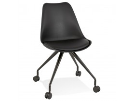 Chaise de bureau sur roulettes 'SKIN' noire avec structure en métal noir