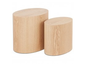 Set de 2 tables d'appoint 'SOKLE' en bois finition naturelle