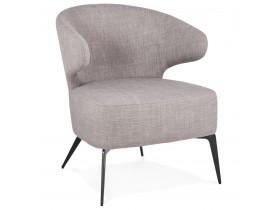 Fauteuil lounge design 'SOTO' en tissu gris et pieds en métal noir
