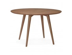 Table à dîner ronde SWEDY en bois Noyer style scandinave de 120 cm - Alterego