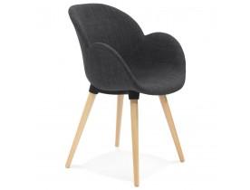 Chaise design scandinave 'TAPIOCA' en tissu gris foncé