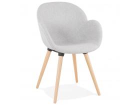 Chaise design scandinave 'TAPIOCA' en tissu gris clair