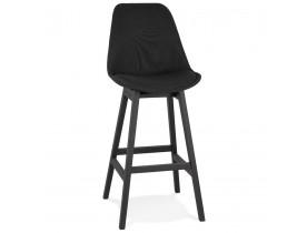Tabouret de bar design 'TERESA' en tissu noir et pieds en bois noir