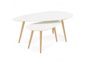 Tables gigognes design 'TETRYS' blanches